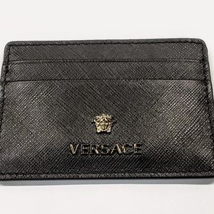 Versace Saffiano Slim Leather Credit Card Wallet